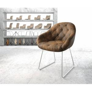 DELIFE Armleunstoel Gaio-Flex bruin vintage slipframe roestvij staal