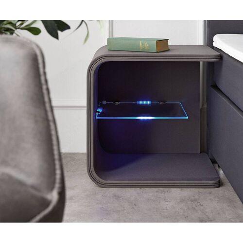 DELIFE Nachtkastje Oscar big 50cm hoog grijs met LED en glazen plankje