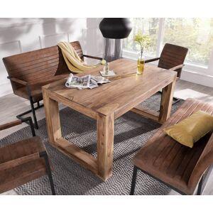 DELIFE Eettafelgroep Indra acacia 140x90 natuur 2 stoelen + 2 eetbanken