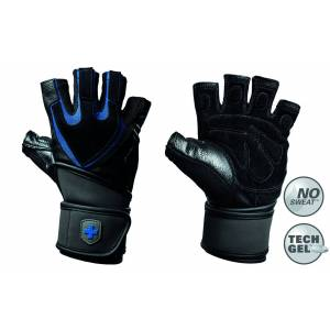 Harbinger Fitness Harbinger Men's Training Grip Fitness Handschoenen met Wrist Wrap - Zwart/Blauw - S