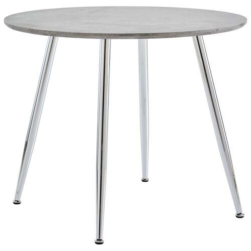 vidaXL Eettafel 90x73,5 cm MDF betonkleurig en zilverkleurig