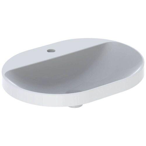 Geberit VariForm Einbauwaschtisch, elliptisch, mit Hahnlochbank  B: 60 T: 45 H: 17,8 cm weiß mit keratec 500.735.00.2