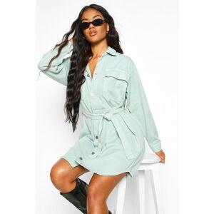 boohoo Tie Pocket Front Utility Shirt Dress, Slate Blue  - Slate Blue - Size: 36