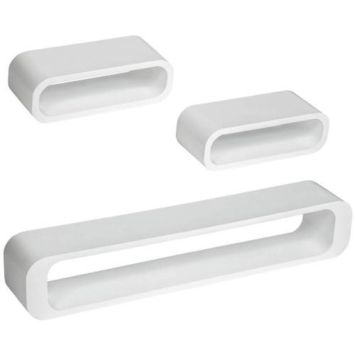 tectake Set van 3 wandplanken Liv - wit