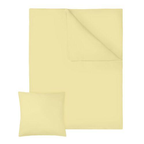 tectake 4 Beddengoedset 2-delig, 200x135cm katoen - geel