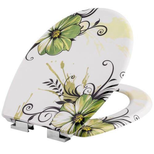 tectake Toiletbril met motief - bloemen