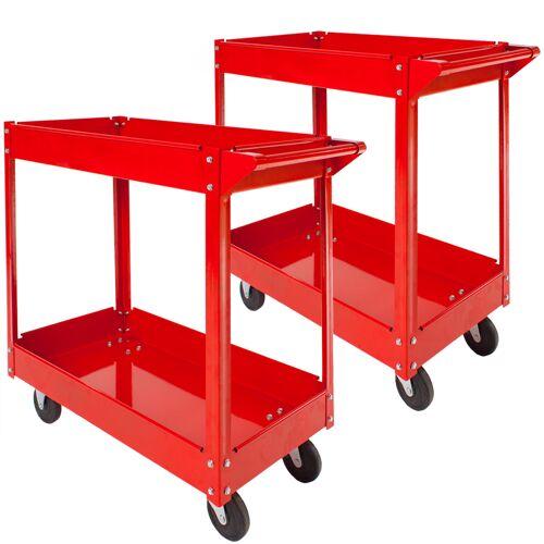 tectake 2 Werkplaatswagen met 2 legborden - rood