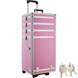 tectake Cosmetica koffer met 4 etages - pink