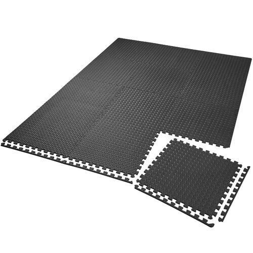 tectake Set van 12 beschermingsmatten - zwart