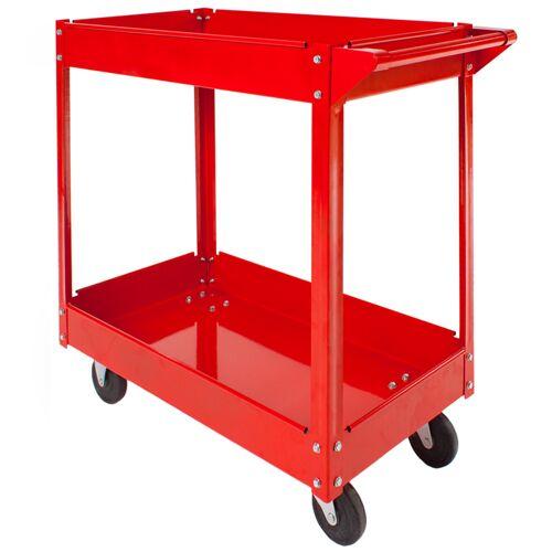 tectake Werkplaatswagen met 2 legborden - rood