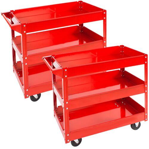 tectake 2 Werkplaatswagen met 3 legborden - rood