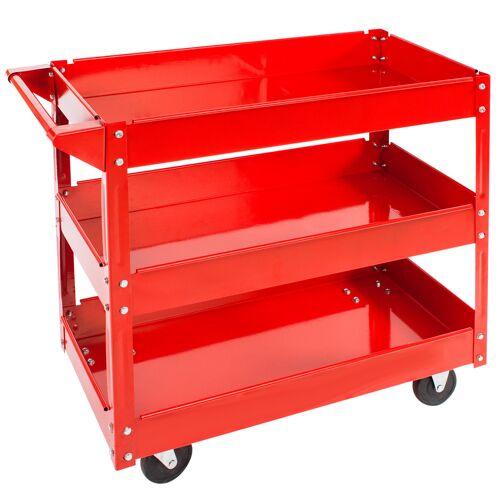 tectake Werkplaatswagen met 3 legborden - rood
