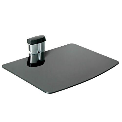 tectake Muurbeugel/houder voor DVD-speler, recorder en ontvanger met 1 glasplaat - zwart
