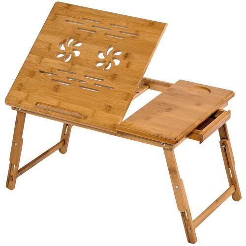 tectake Houten laptoptafel laptop table voor op bed 55x35x26 cm - bruin