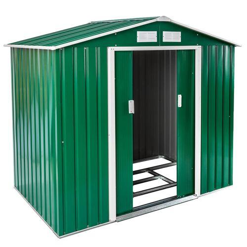 tectake Tuinhuis met zadeldak 214x130x185 cm - groen