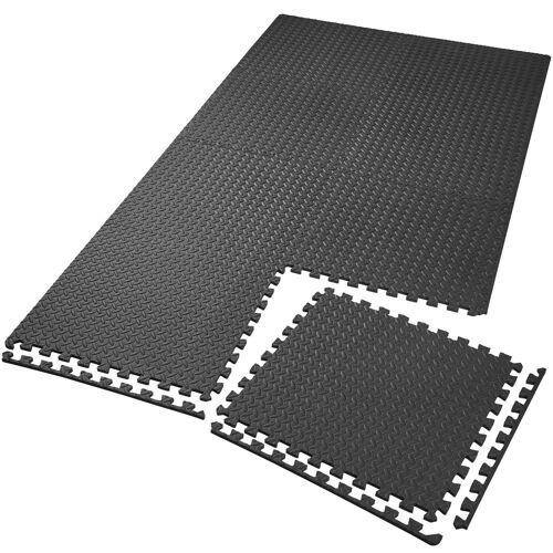 tectake Set van 8 beschermingsmatten - zwart