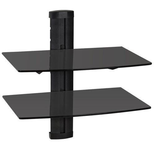 tectake Wandsteun muurbeugel voor DVD Speler recorder en ontvanger met 2 glasplaten - zwart