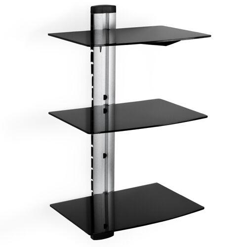tectake Muurbeugel/houder voor DVD-speler, recorder en ontvanger met 3 glasplaten - zwart