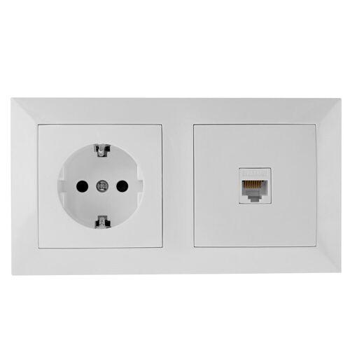 BES LED UTP RJ45 Stopcontact - Wandcontactdoos - Aigi Cika - Inbouw - 1-voudig Stopcontact - 1-voudig UTP CAT5E - Randaarde - Incl. Afdekraam - Wit