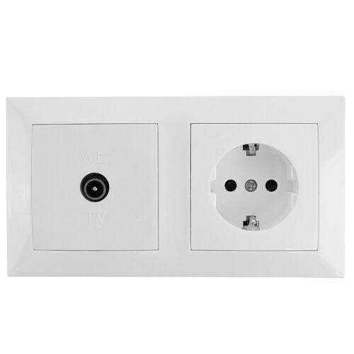 BES LED Coax Contactdoos - Wandcontactdoos - Aigi Cika - Inbouw - 1-voudig Stopcontact - 1-voudig Coax - Randaarde - Incl. Afdekraam - Wit