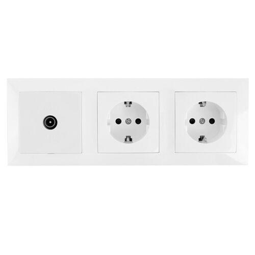 BES LED Coax Contactdoos - Wandcontactdoos - Aigi Cika - Inbouw - 2-voudig Stopcontact - 1-voudig Coax - Randaarde - Incl. Afdekraam - Wit