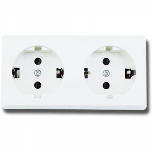 BES LED Wandcontactdoos - Aigi Kuta - Opbouw - 2-voudig - Randaarde - Wit