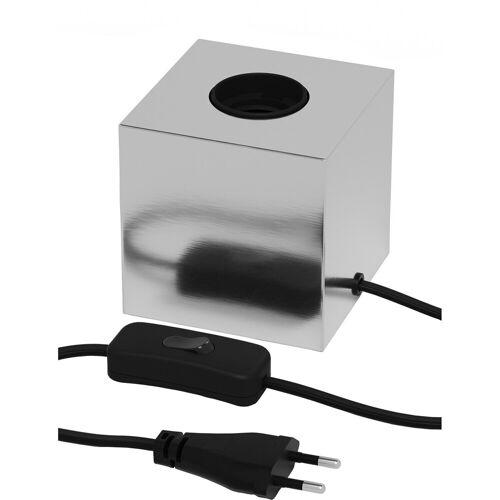 CALEX - LED Tafellamp - Tafelverlichting - Raho - E27 Fitting - Vierkant - Mat Chroom - Metaal