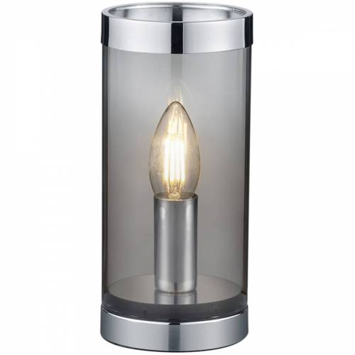 BES LED LED Tafellamp - Tafelverlichting - Trion Culo - E14 Fitting - Rond - Rookkleur - Aluminium