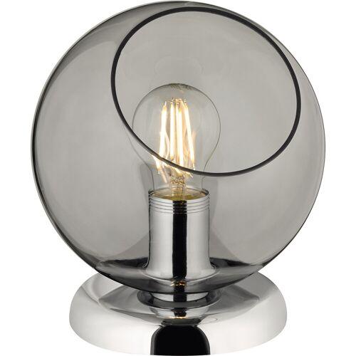 BES LED LED Tafellamp - Tafelverlichting - Trion Klino - E27 Fitting - Rond - Mat Chroom Rookkleur - Aluminium