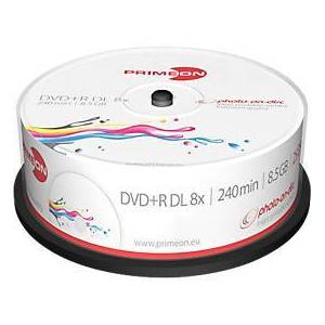 PRIMEON DVD+R DL, spindel met 25 stuks, wit, te bedrukken
