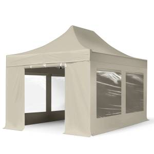 TOOLPORT Easy up Partytent 3x4,5m Hoogwaardig polyester 400 g/m² crème waterdicht Easy Up Tent, Pop Up Partytent, Harmonicatent, Vouwtent
