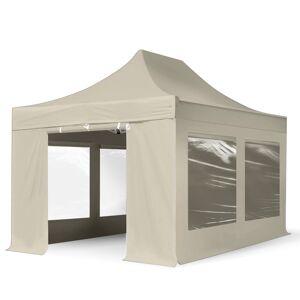 TOOLPORT Easy up Partytent 3x4,5m hoogwaardige polyester met een extra PVC coating 400 g/m² crème waterdicht Easy Up Tent, Pop Up Partytent, Harmonicatent, Vouwtent
