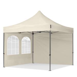 TOOLPORT Easy up Partytent 3x3m Hoogwaardig polyester 350 g/m² crème waterdicht Easy Up Tent, Pop Up Partytent, Harmonicatent, Vouwtent