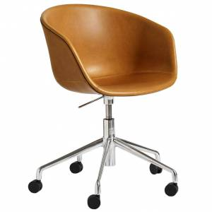 Hay About a Chair AAC53 bureaustoel onderstel gepolijst aluminium Silk Leather SIL0250