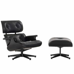 Vitra Eames Lounge chair met Ottoman fauteuil (nieuwe afmetingen) zwart