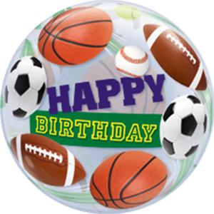 """Qualatex Bubbles """"Birthday Sports Balls Single Bubble 22in/55cm"""""""
