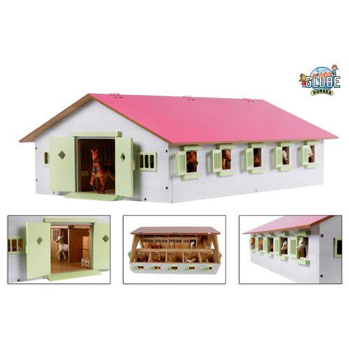 Kids Globe Paardenstal Met 9 Boxen Roze 1:32