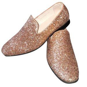 Merkloos Heren disco instap schoenen met gouden glitters 44 - Verkleedschoenen