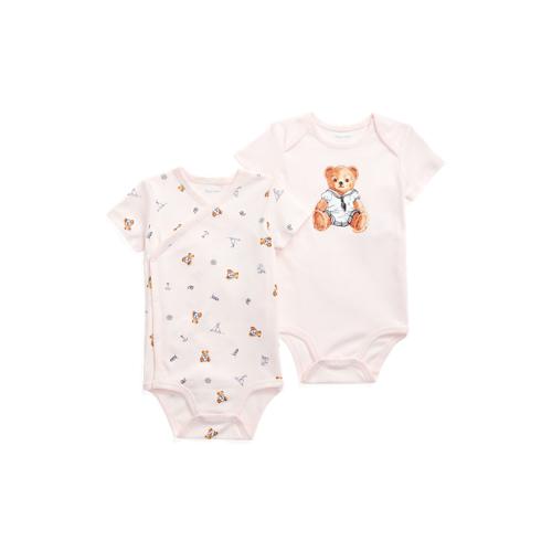 Baby Girl Polo Bear Bodysuit 2-Piece Set  - Pink Multi - Size: 12M