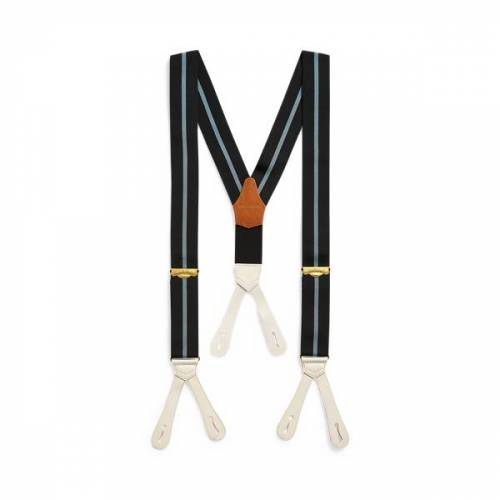 RRL Striped Braces  - Navy Stripe - Size: One Size