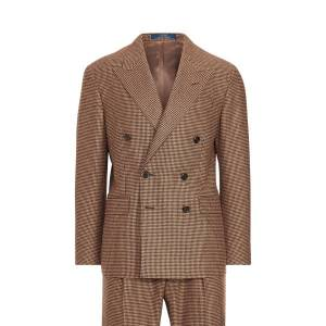 Polo Ralph Lauren Polo Checked Houndstooth Suit  - Camel/Brown - Size: 46