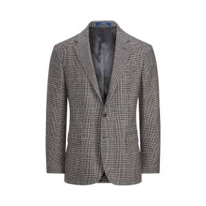 Polo Ralph Lauren Polo Plaid Wool Sport Coat  - Black And Cream W/Blue - Size: UK 48