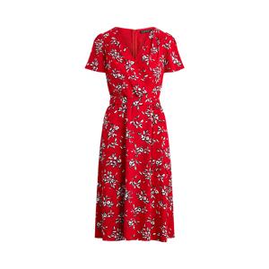Lauren Floral Crepe Dress  - Orient Red/Lh Navy/Col Cr - Size: UK 12
