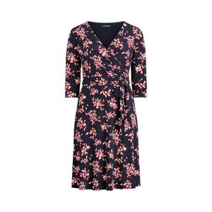 Lauren Woman Floral Jersey Surplice Dress  - Lh Navy/Orient Red/Col Cr - Size: UK 24