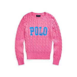 GIRLS 7-14 YEARS Logo Cable-Knit Cotton Jumper  - Baja Pink - Size: Small