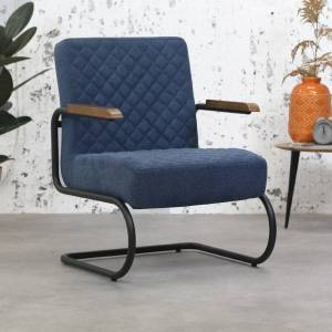 Dimehouse Industriële fauteuil Mustang met arm stof blauw