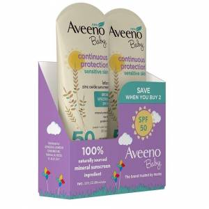Aveeno Baby Continuous Protection Zinc Oxide Mineral Sunscreen Lotion SPF 50, 3f