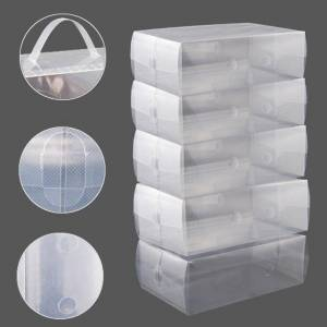 Kurtzy 10 Pack of Clear Corrugated plastic Shoe storage boxes for Ladies Men-Stackable