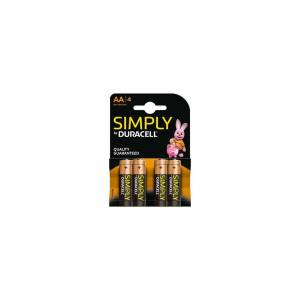 Duracell Simply Alkaline Pack Of 4 Aa Batteries MN1500B4SIMPLY