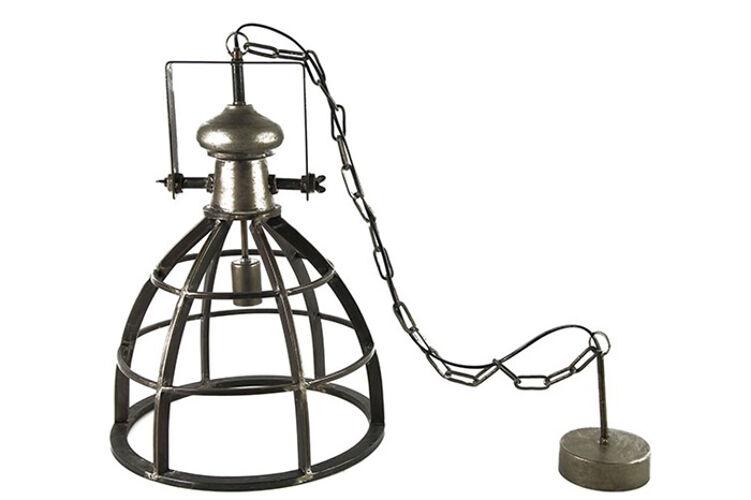 Hanglamp industrieel nikkel donk...